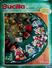 "Bucilla Santa ""CHRISTMAS VILLAGE"" Felt Tree Skirt Kit Sterilized CHURCH CHILDREN"