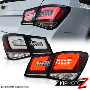 """For 10-15 Chevy Cruze """"OLED NEON TUBE"""" 4PC LED Rear Tail Lights Lamps Black SET"""