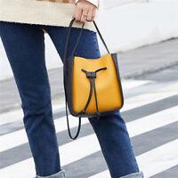 Women PU Leather Elegant Shoulder Contrast Color Round Buckle Phone Bag B