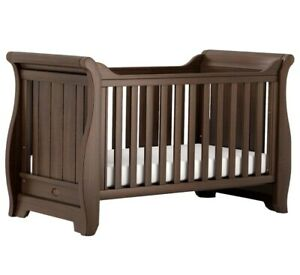 Boori Country Collection Sleigh Cot Bed Baby Dark Oak Solid w/ Organic Mattress