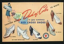 Vintage RED CROSS SHOES postcard ad Dash of Color! Morgan's Long Island NY 1940s