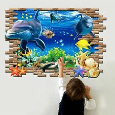 3D Underwater World Dolphin Art Quote Wall Sticker Wall Decals PVC Wallpaper
