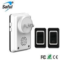 Saful Waterproof Wireless DoorBell plug w 2 Outdoor TX + 1 Indoor RX Door Bell