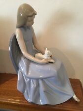 NAO BY LLADRO FIGURINE GIRL WITH CAT ON HER LAP LARGE FIGURE
