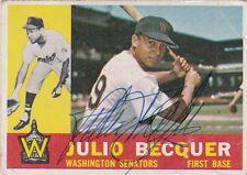Julio Becquer Washington Senators 1960 Topps Autographed Baseball Card W/COA