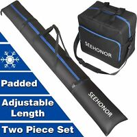 Padded Ski Bag and Boot Bag Combo, Store Transport Skis Up to 79 Inch and Boots