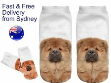 Low cut dog socks - chow chow puppy canine novelty print sock fluffy dogs sock