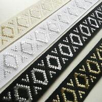Lurex Jacquard Ribbon Diamond Pattern 20mm wide - Silver Gold White Black Cream
