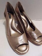 Alex Marie Layered Wood Wedge Metallic Gold Open Toe Size 10
