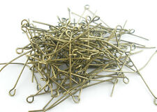 500PCs Bronze Tone Eye Pins Findings 30x0.7mm