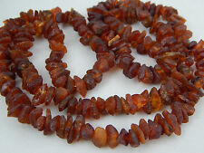 "Vintage Natural Raw Cognac Honey Baltic Amber Nugget Bead Necklace 26"" ~32g"