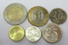 TURKEY 6 COINS SET 2015 UNC KURUS TO LIRA