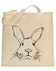 Rabbit Face cotton tote bag - Book bag, Shopping bag,Reusable and Washable