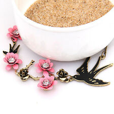 Vintage Swallow Bird Pink Flower Rose Metal Chain Pendant Necklace Statement