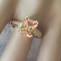 Antique Jewellery Gold Ring with Champagne White Sapphires Vintage Deco Jewelry