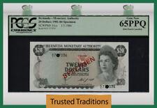 TT PK 31cs 1981-84 BERMUDA 20 DOLLARS QUEEN ELIZABETH II SPECIMEN PCGS 65 PPQ