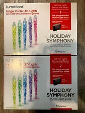 2 boxes Lumations Holiday Symphony Large Icicle LED Light Music Light Show NEW