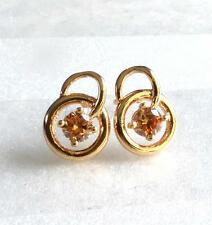 Girl Champagne Small Stud  Earrings 18K Gold Plated CZ Cubic Zirconia Crystal