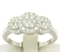 14k White Gold F VS2 1.25ctw Triple Cluster Round Brilliant Diamond Band Ring