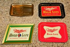 New listing (4) Different 1950s - 1960s Miller Beer Metal Tip Tray Trays (Nice+) Must See!