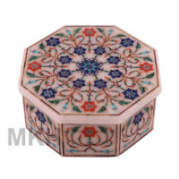 Exclusive White Marble Inlay Jewellery Box Handmade For Home Decor Gifts Mosaic