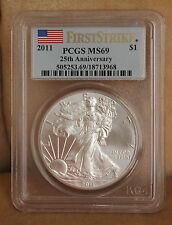 2011 US SILVER EAGLE 25TH ANNIVERSARY FIRST STRIKE PCGS MS69 FLAG DECAL