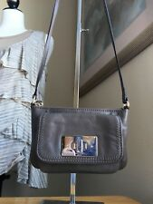 Kate Spade Small Taupe Leather Cross Body Style Bag W Gold Tone Hrdwr