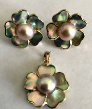 14k yellow gold light pink pearl shell pedals flower earring pendant set.