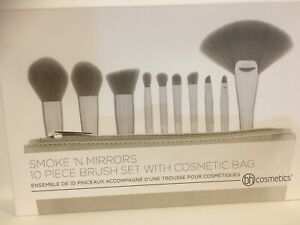 BH COSMETICS Smoke 'n Mirrors 10 Piece Metalized Brush Set with Bag New