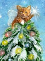 BCB Orange Tabby Cat Star Christmas Tree Print of Painting ACEO 2.5 x 3.5 Inches