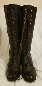 Ella Shoes (LONDON) Ladies' Brown Leather Lace-Up Knee-High Boots Size: UK 5.u