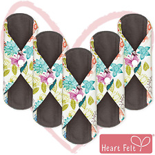Bamboo Charcoal Reusable Sanitary Pads X 5 with HEAVY Flow Absorbency Layer and