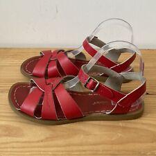 Saltwater sandals size 6 UK 5 red leather original flat buckle Salt Water