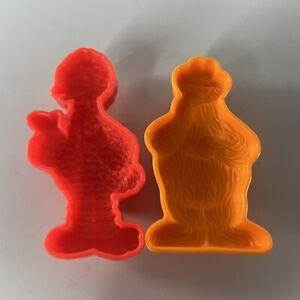 Vintage 1992 Play Doh Sesame Street Molds Big Bird & Cookie Monster Red Orange