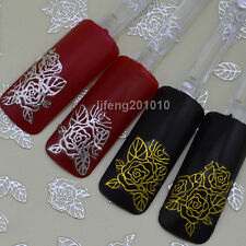New 2014 adhesive hot stamping gold silver nail art sticker decals decorations