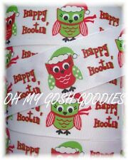 1.5 Christmas Happy Hootin Hootie Hoot Owl Grosgrain Ribbon 4 Hairbow Bow