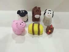 5 Edible farm barn animals horse Brown chicken pig sheep Hay cake cupcake topper