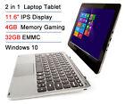 "Intel Z8300 11.6"" IPS 4GB RAM 32GB EMM Tchscreen 2-in-1 Windows 10 Laptop Tablet"