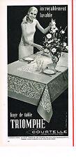 PUBLICITE  1968   TRIOMPHE  linge de table nappes