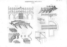 Stampa antica ARCHITETTURA INGEGNERIA Ponti dettagli costruzione 1848 Old print