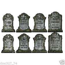 4 HALLOWEEN Haunted House Party Decoration Graveyard TOMBSTONE PAPER Cutouts 15""