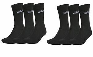 Adidas 6 Pack boys girls juniors crew Logo Socks Black UK size 3 - 6 EU 37-39