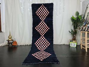 Vintage Moroccan Handmade Runner Rug 3 x 9.9ft Berber Geometric Black Wool Rug