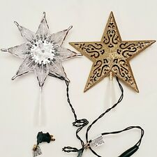 Christmas Tree Star Toppers Lot of 2 Prelit Silver Gold Holiday Home Decor