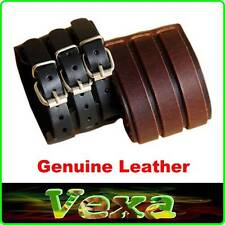 New ROCK Mens Bracelet 65mm Genuine Leather Bangle Wristband punk emo surfer UK