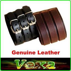Mens Bracelet 65mm Genuine Leather Black Brown Rock Punk Emo Surfer Bangle Clasp