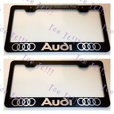 2X Audi With Logos Stainless Steel Black License Plate Frame Rust Free W/CAPS