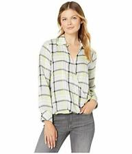 Vince Camuto Plaid Highlight Collared Faux Wrap Blouse (Light Green, L)