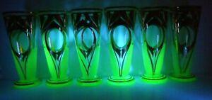 SIX VINTAGE URANIUM GLOW DRINKING GLASSES