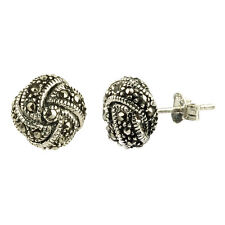 Sterling Silver Marcasite Knot Dome Stud Earring